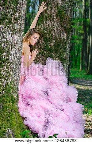 Pretty Girl Near Tree