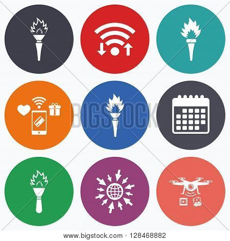 Wifi, mobile payments and drones icons. Torch flame icons. Fire flaming symbols. Hand tool which provides light or heat. Calendar symbol.