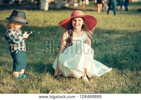 Little Boy And Stylish Girl