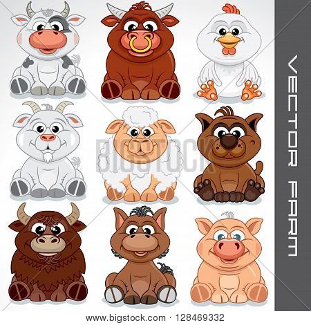 Farm Animals Clip Art for Kids. Vector Collection of Cute Animals