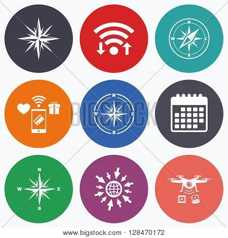 Wifi, mobile payments and drones icons. Windrose navigation icons. Compass symbols. Coordinate system sign. Calendar symbol.