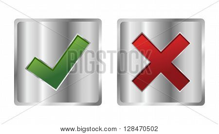 Vector stock of check mark icon in metallic silver box