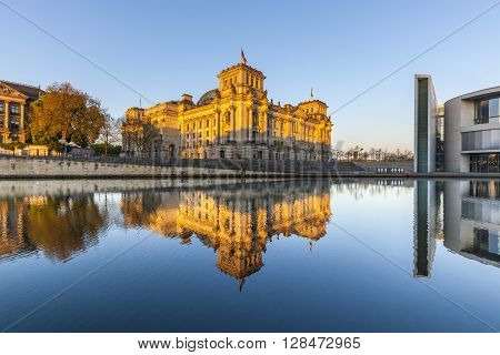 Reichstag With Reflection In Spree, Berlin