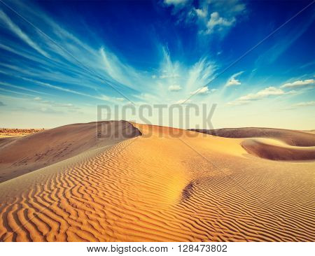Vintage retro effect filtered hipster style image of dunes. Thar Desert, Rajasthan, India