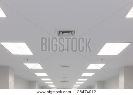 ceiling and fluorescent lighting with exhaust fan louver smoke detection and fire water sprinkler selective focus