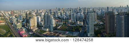 BANGKOK THAILAND - May 3: aerial view of sky scraper and city development in heart of thailand capital on may 3, 2016 in bangkok thailand