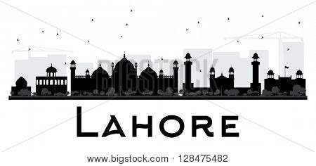 Lahore City skyline black and white silhouette. Vector illustration.