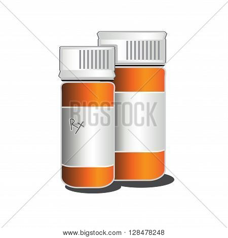 Rx Medical Prescription Bottles vector drawing illustration