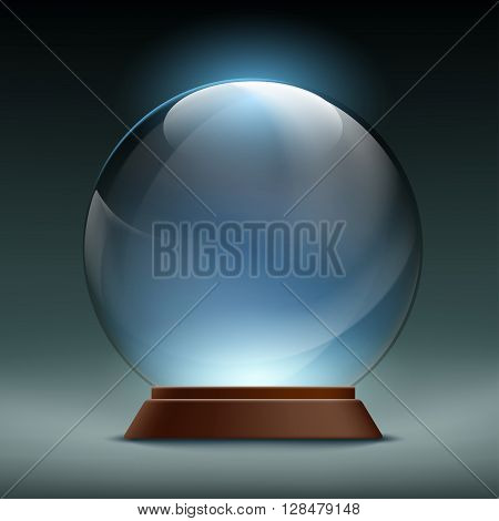 Transparent crystal glass magic ball. Stock vector illustration.