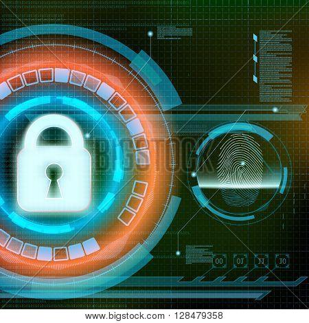 Data protection. Scan fingerprint. Futuristic HUD interface. Infographics technology background. Stock vector illustration.