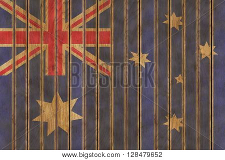 Illustration of the Australian flag against a background of wooden panels
