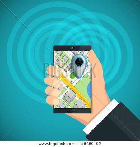 Human hand holding a smartphone with a city map and pointer. Stock vector illustration.