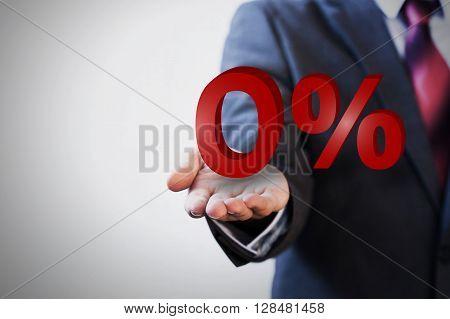 Businessman presenting zero percent graphic financial concept