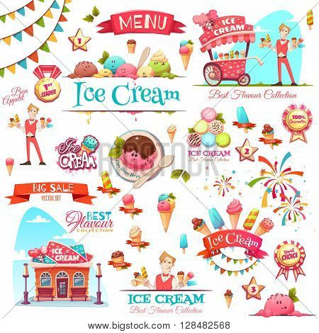 Ice cream vector set with banner icons and illustrations .