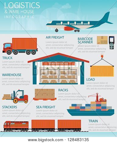 Infographic of Industrial warehouse with trucks Freight train cargo ships and barcode scannerTransportation logistics conceptual vector illustration.