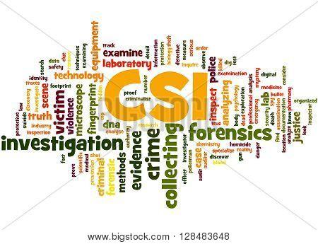 Csi, Crime Scene Investigation Word Cloud Concept