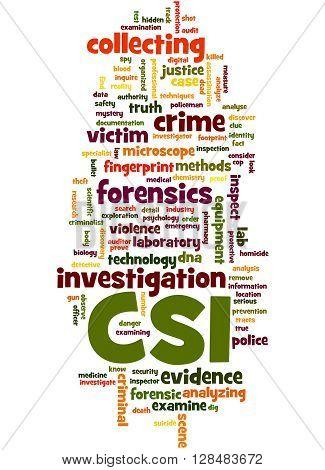 Csi, Crime Scene Investigation Word Cloud Concept 3