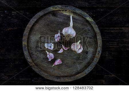Garlic, Peeled Dark Wood Floors