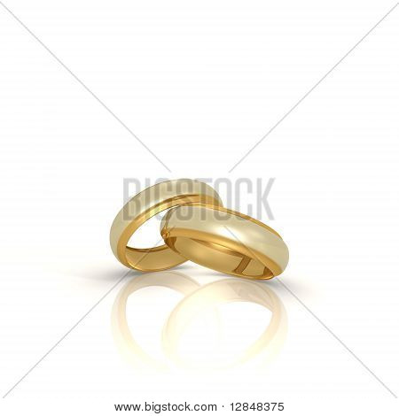 A pair of gold and silver wedding rings - a 3d image