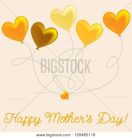 Heart Balloon Mother's Day Card In Vector Format.