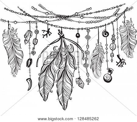 Background with feathers in Boho style