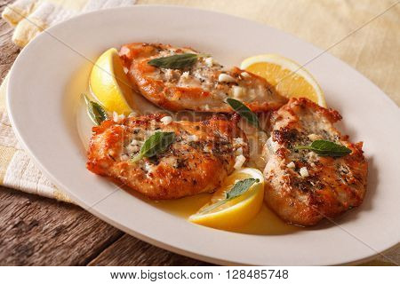 Roasted Chicken Breast With Sage, Garlic And Lemon Close-up On A Plate. Horizontal