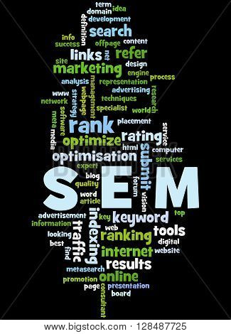 Sem, Search Engine Marketing Optimization Word Cloud Concept 7