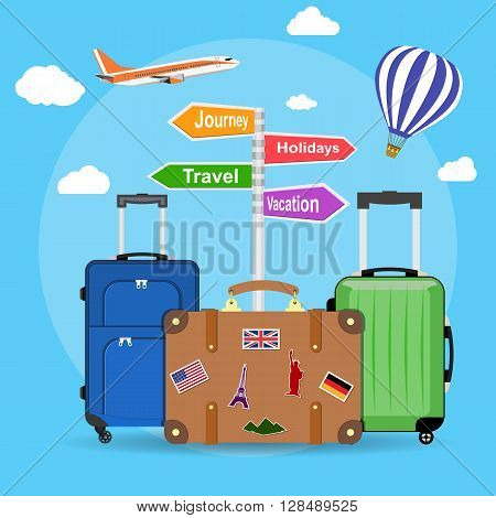 picture of travel bags and signpost vacation, travel, journey, holidays with clouds and plane, Hot air balloon, on background. illustration in flat design. travel and vacations concept