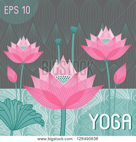 decorative stylized lotus bud design style yoga