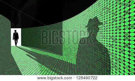 A silhouette of a hacker with a black hat in a suit enters a hallway with walls textured with green dots 3D illustration backdoor concept