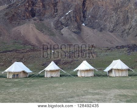 Sarchu camping tents at the Leh - Manali Highway. Leh - Manali Road is a highway in northern India connecting Leh in Ladakh in Jammu and Kashmir state and Manali in Himachal Pradesh state
