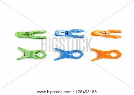 three color green blue orange clothes hanger