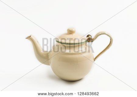 old thai zinc tea pot isolated on white background