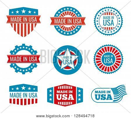 Red and blue made in the USA emblems set. Guarantee made in usa, shield made in usa, national label made in usa. Vector illustration