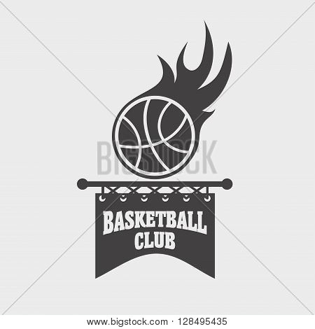 Basketball Club Sports Logo, Label, Emblem Design Template With A Ball And Banner On A Light Backgro
