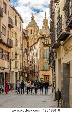 SEGOVIA,SPAIN - APRIL 22,2016 - In the streets of Segovia. Segovia is a city in the autonomous region of Castile and Leon in Spain.