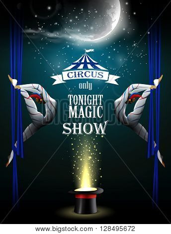 Circus background with two acrobatic girls, moon and magician hat.