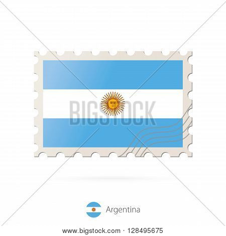 Postage Stamp With The Image Of Argentina Flag.