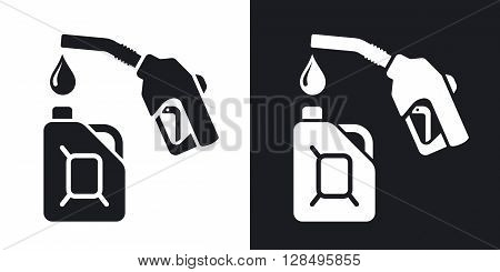 Gun for fuel pump and canister of fuel stock vector. Two-tone version on black and white background