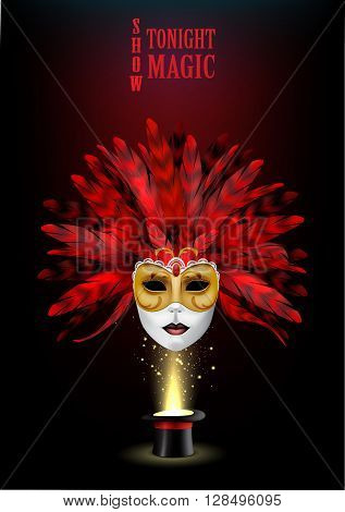 Magic show background with realistic magician hat and masquerade mask.