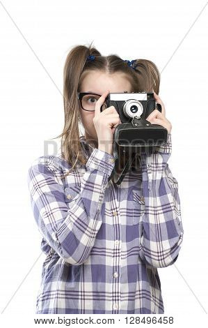 Girl Teenager With A Camera In Hand..