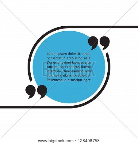 Quote text bubble on white background. Quote bubble template. Quote blank template. Quote bubble. Empty template. Circle quote form. Vector illustration.