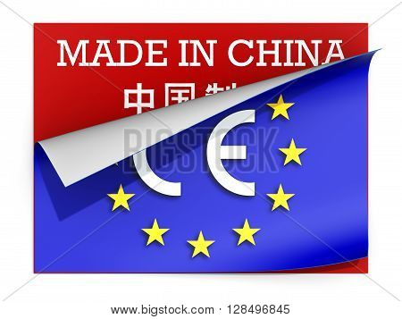 CE marking label over label Made in China
