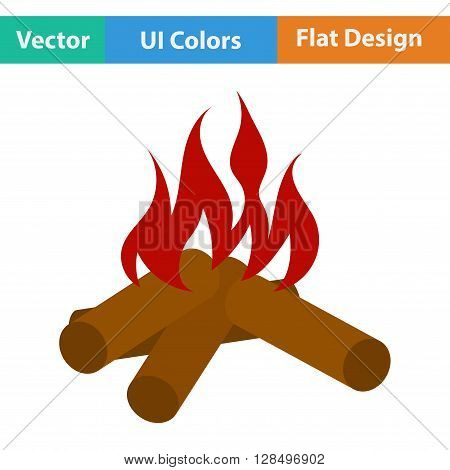 Flat Design Icon Of Camping Fire