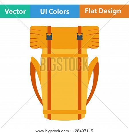 Flat Design Icon Of Camping Backpack