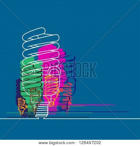 Conceptual blue background with multicolor light lamps. Vector illustration.