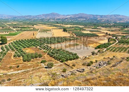 View of Messara plain from the hill of Phaistos. Crete Greece