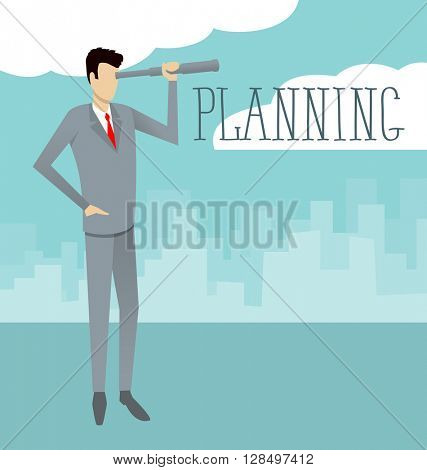 Vector flat business concept Businessman looking on spyglass. Plannig the future