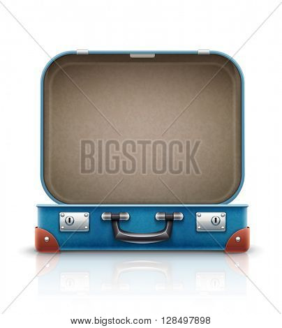 Open old retro vintage suitcase for travel. Vector illustration. Isolated on white background