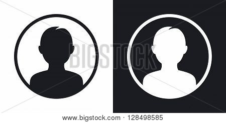 Male user icon vector illustration. Two-tone version on black and white background